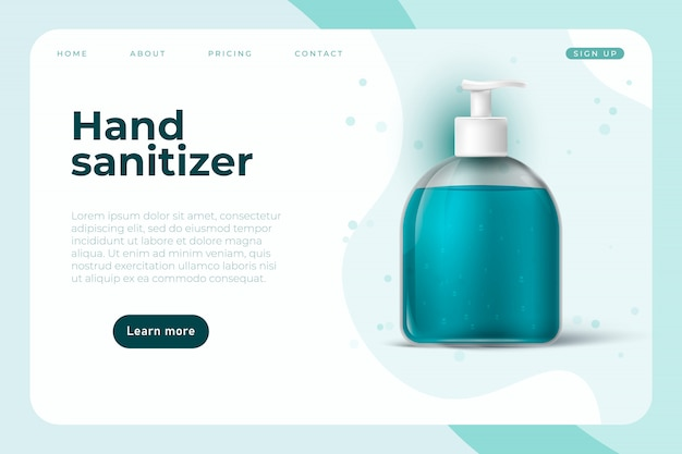 手の消毒剤のようなcovid 19防止オブジェクトを備えたコロナウイルス情報ウェブページのデザイン。 Premiumベクター
