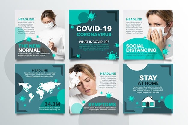 Coronavirus raccolta post instagram Vettore gratuito