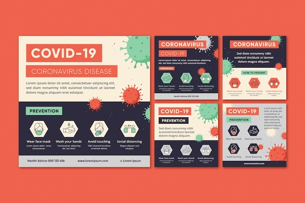 Coronavirus instagram post collection Free Vector