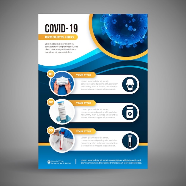 Coronavirus medical products flyer template with photo Free Vector