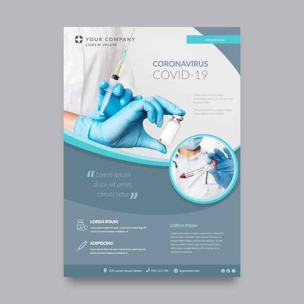 Modello di volantino per prodotti medici coronavirus con foto Vettore gratuito