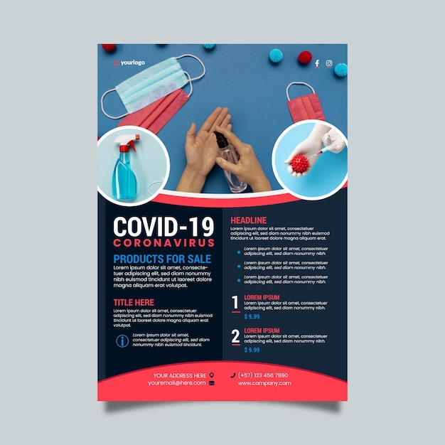 사진이있는 코로나 바이러스 의료 제품 포스터 템플릿 무료 벡터
