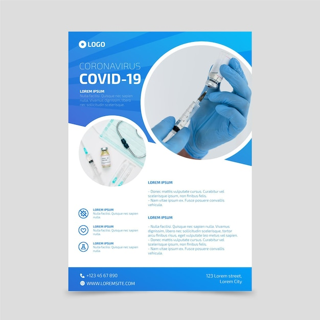 Coronavirus medical products poster with photo Free Vector