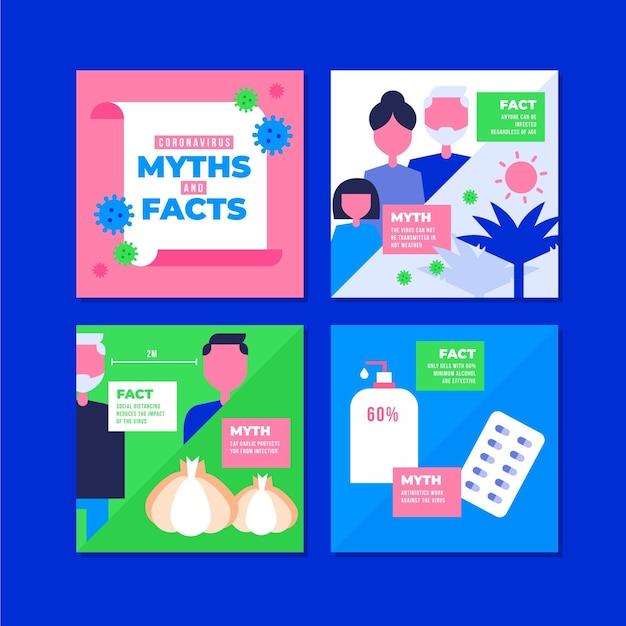 Coronavirus myths list for instagram Free Vector