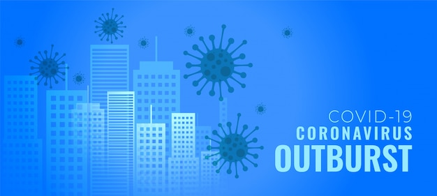 Coronavirus outburst infecting cities buildings concept banner Free Vector