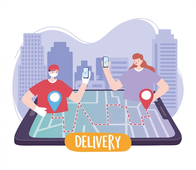 Coronavirus pandemic, delivery service, delivery man and customer with smartphone order tracking in map Premium Vector