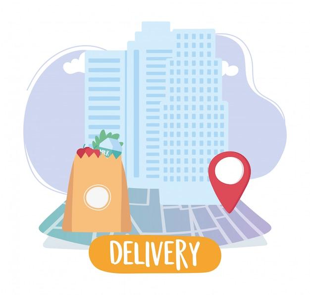 Coronavirus pandemic, delivery service, market bag navigation map pointer Premium Vector