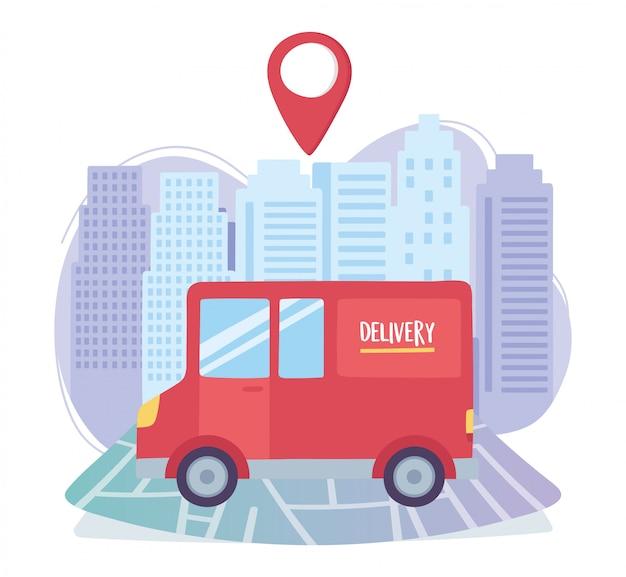 Coronavirus pandemic, delivery service, truck transport map navigation Premium Vector