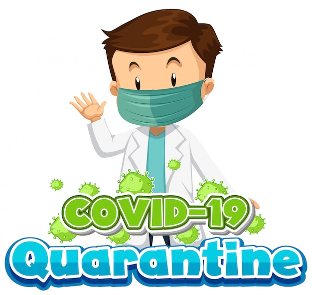 Coronavirus poster design with doctor wearing mask Free Vector