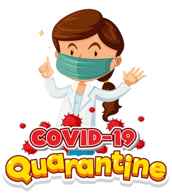 Coronavirus poster design with female doctor wearing mask Free Vector