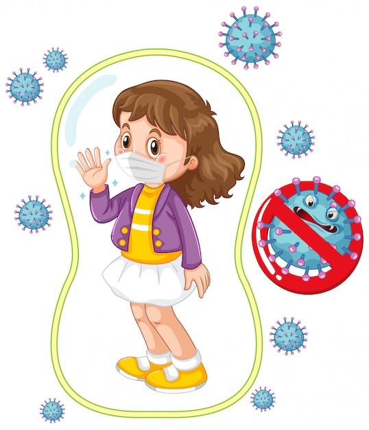 Cartellonistica coronavirus con maschera da portare ragazza Vettore gratuito