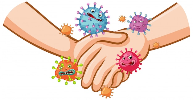 Coronavirus poster design with handshake and germs on hands Free Vector