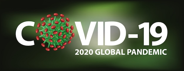 Coronavirus poster design with word on black background Free Vector