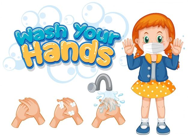 Poster di coronavirus per lavarsi le mani con una ragazza che indossa una maschera Vettore gratuito