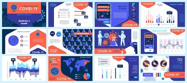 코로나 바이러스 프레젠테이션은 인포 그래픽 요소의 템플릿을 슬라이드합니다. 프리미엄 벡터