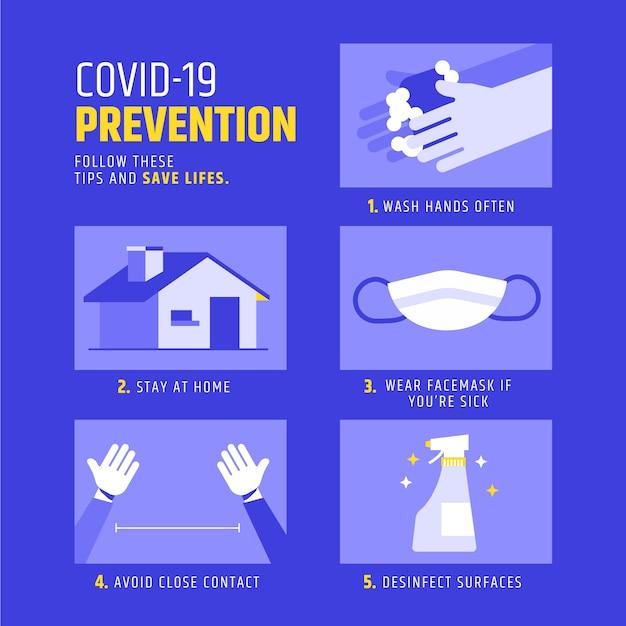 コロナウイルス予防インフォグラフィックのコンセプト 無料ベクター