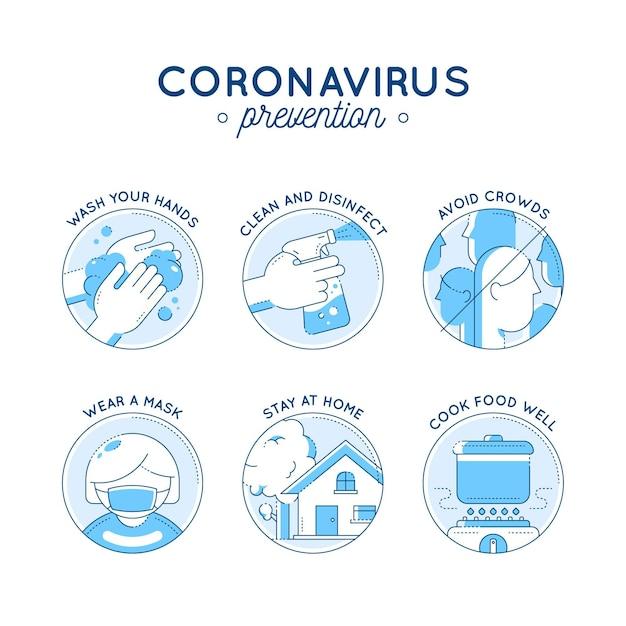 コロナウイルス予防のインフォグラフィック 無料ベクター