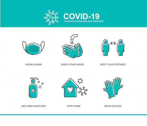 コロナウイルス予防のインフォグラフィック Premiumベクター