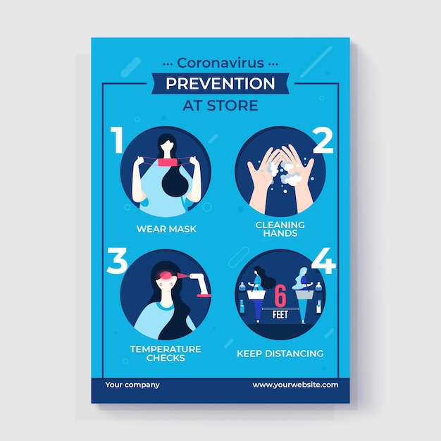 お店のコロナウイルス予防ポスター 無料ベクター