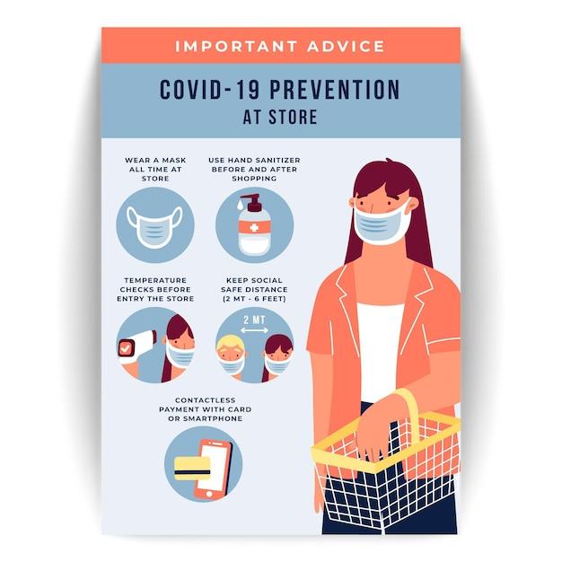 Плакат по профилактике коронавируса для магазинов Бесплатные векторы