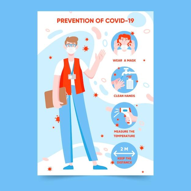 Coronavirus prevention poster for shops Free Vector