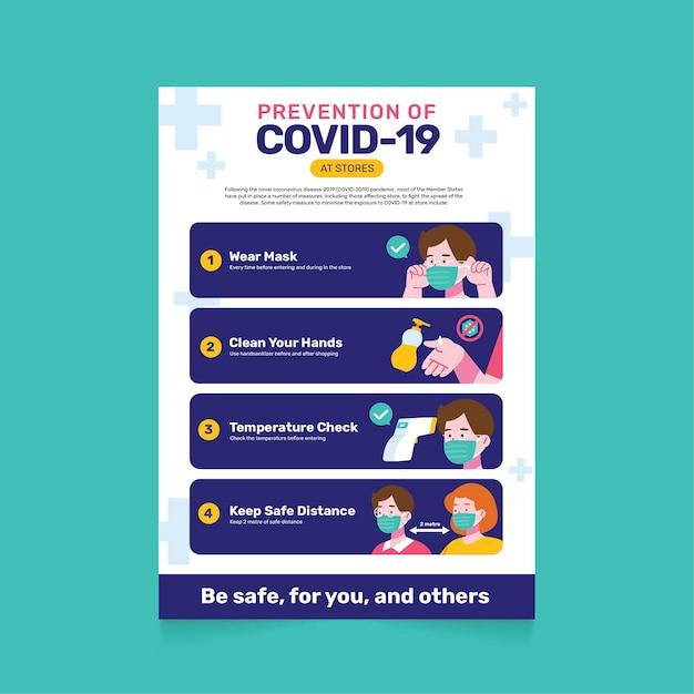 Poster di prevenzione del coronavirus per i negozi Vettore gratuito
