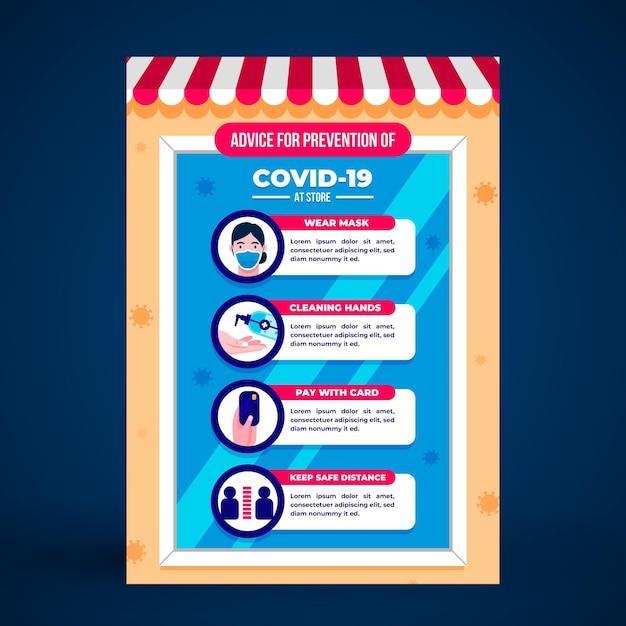 お店のコロナウイルス予防ポスターテンプレート 無料ベクター