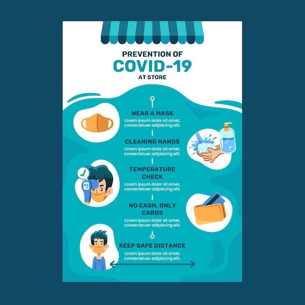 코로나 바이러스 예방 포스터 무료 벡터