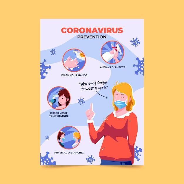 Coronavirus prevention poster Free Vector