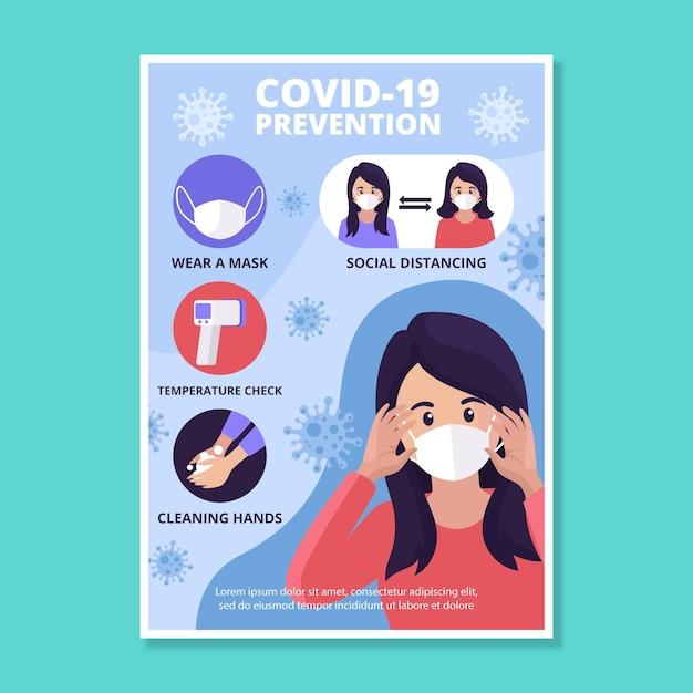 コロナウイルス予防ポスター Premiumベクター