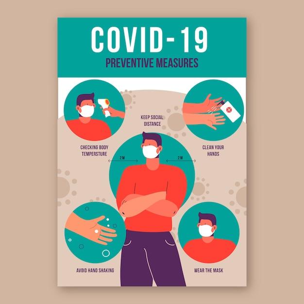 Плакат по профилактике коронавируса Бесплатные векторы