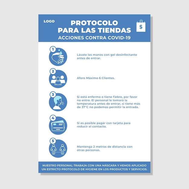 Coronavirus prevention protocol for businesses Free Vector