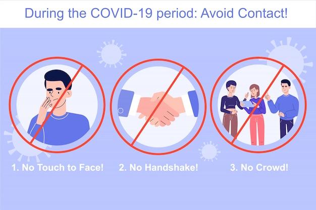 Coronavirus protection avoid contact infographics Premium Vector