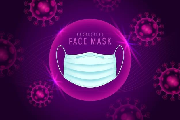 Sfondo di protezione dal coronavirus con maschera facciale Vettore gratuito