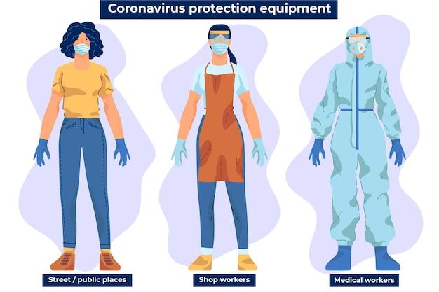 コロナウイルス対策機器のアドバイス 無料ベクター