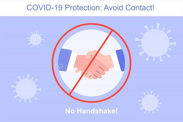 Coronavirus protection no handshake Premium Vector