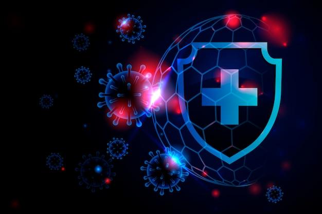 Фон щита защиты от коронавируса Premium векторы
