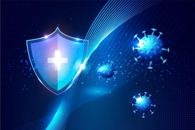 コロナウイルス保護シールドの背景 Premiumベクター