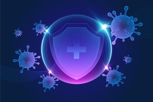 Фон щита защиты от коронавируса Бесплатные векторы