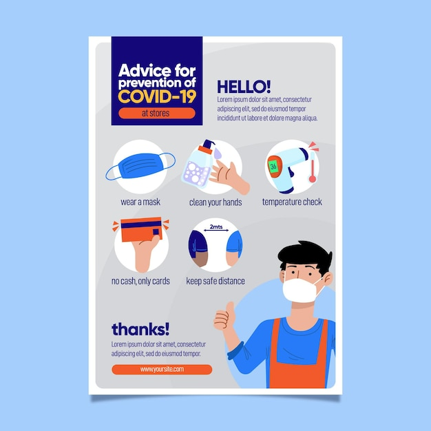 Coronavirus protocol for business poster template Free Vector