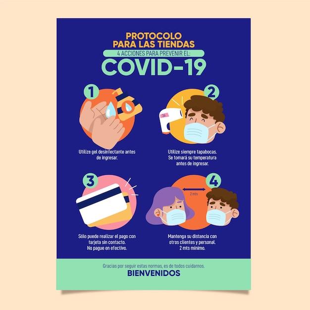 Coronavirus protocol for business poster Free Vector
