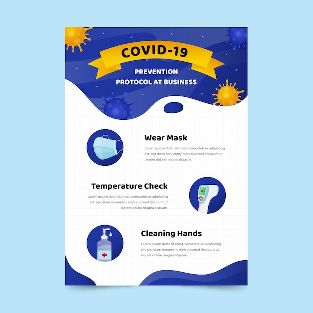 Coronavirus protocol for businesses poster template Free Vector