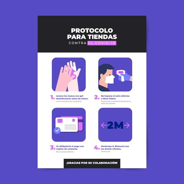 Coronavirus protocol for businesses poster Free Vector