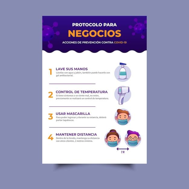 Coronavirus protocol for businesses poster Premium Vector