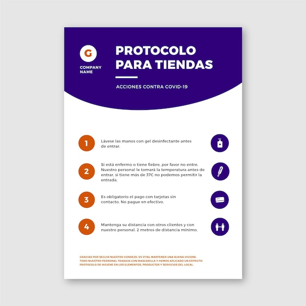 Coronavirus protocols for business poster Free Vector