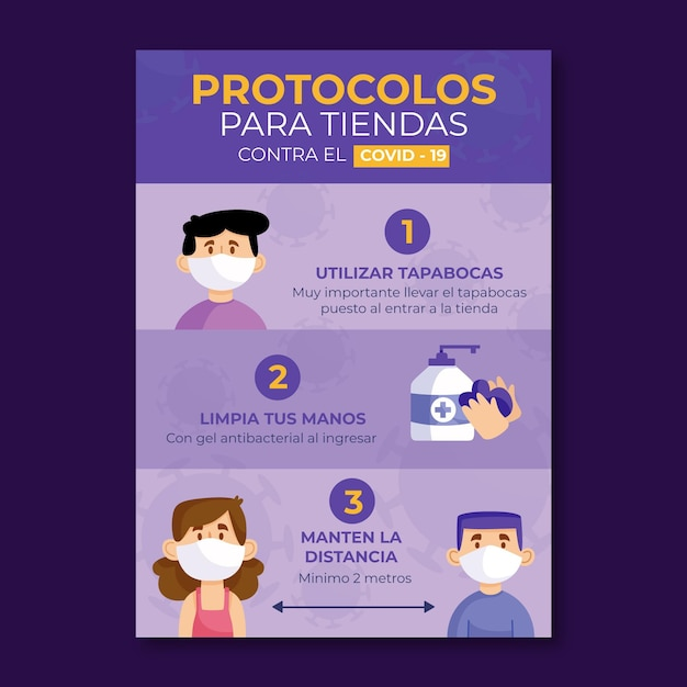 Coronavirus protocols for business poster Free Vector