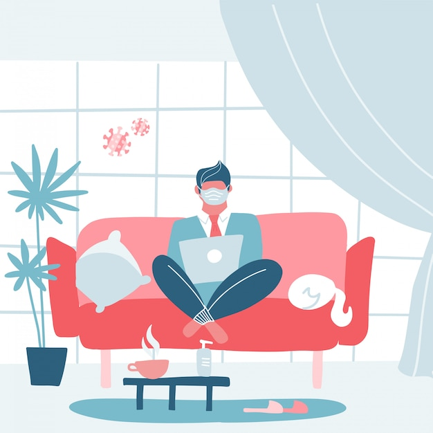 Coronavirus quarantine concept. working from home. man sitting on sofa or couch and working on laptop. modern interior. flat cartoon illustration Premium Vector