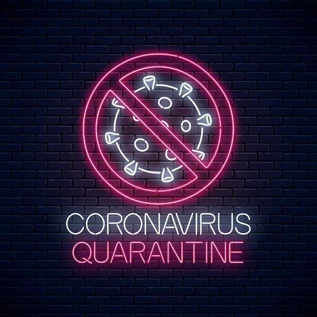 Coronavirus quarantine neon sign Premium Vector