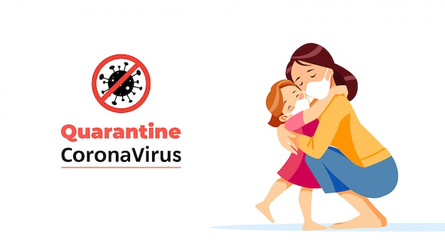 Coronavirus. quarantine no infection and stop coronavirus concepts. mother and child is sitting at home on self-quarantine. family quarantined coronavirus in protective masks. normal life in isolation Premium Vector