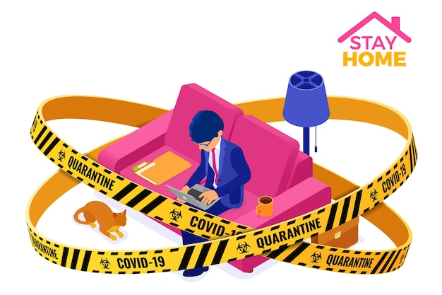 コロナウイルス隔離は、在宅勤務の在宅ビジネスマンにとどまります。男は警告バリアテープとラップトップに取り組んでいる中のソファーに座っています。等尺性文字。コロナウイルス Premiumベクター